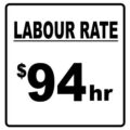 Labour Rate sign